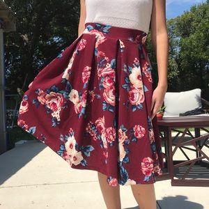 Haute Monde | Maroon Skirt with Cream Flowers S